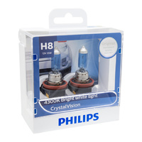 Genuine Philips H8 CrystalVision 12V 35W PGJ19-1 - Twin Pack