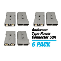 6 x GREY Anderson Power Connector 50A Caravan Trailer Solar 4x4 Truck