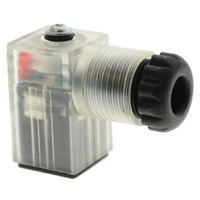 DIN CONNECTOR TYPE C WITH RED LED, 10-24V, CLEAR COVER C SHAPE,15MM HIRSCHMANN