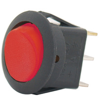 SWITCH ROCKER 10AMP @ 12V 2 POSITION OFF, ON SPST RED ILLUMINATION 3 BLADE TERMINALS
