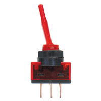SWITCH TOGGLE 20AMP @ 12V 2 POSITION OFF, ON SPST RED ILLUMINATION 3 BLADE TERMINALS