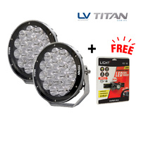 "TITAN SERIES 9"" Driving Light LED Combo Beam 180W 9-32V 16500 Lumens IP68 Pair Bundle"